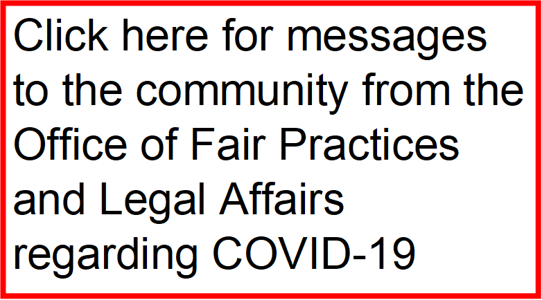 Messages from the Office of Fair Practices and Legal Affairs regarding COVID-19