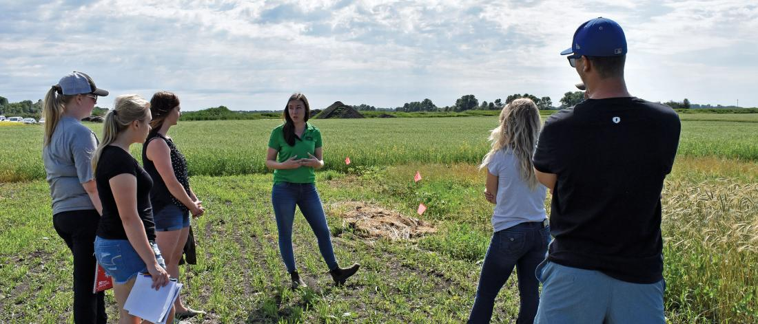 Students listen to instructor in soybean field.