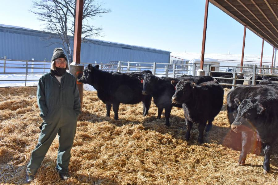 An agriculture graduate program student stands in an outdoor pen with some cattle.
