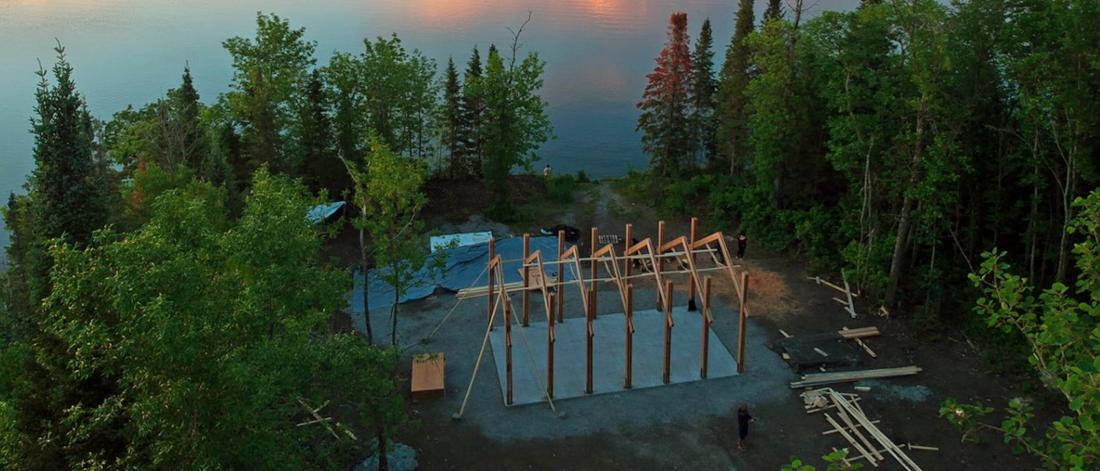 A feasting pavilion being built that acts as a place of celebration and memorial located in Shoal Lake.