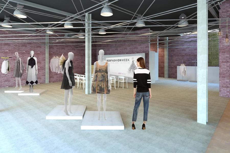 Exhibition space rendering and floor plan with exposed lighting and brick walls, mannequins wearing dresses, and poster reading 'eco fashion week.'