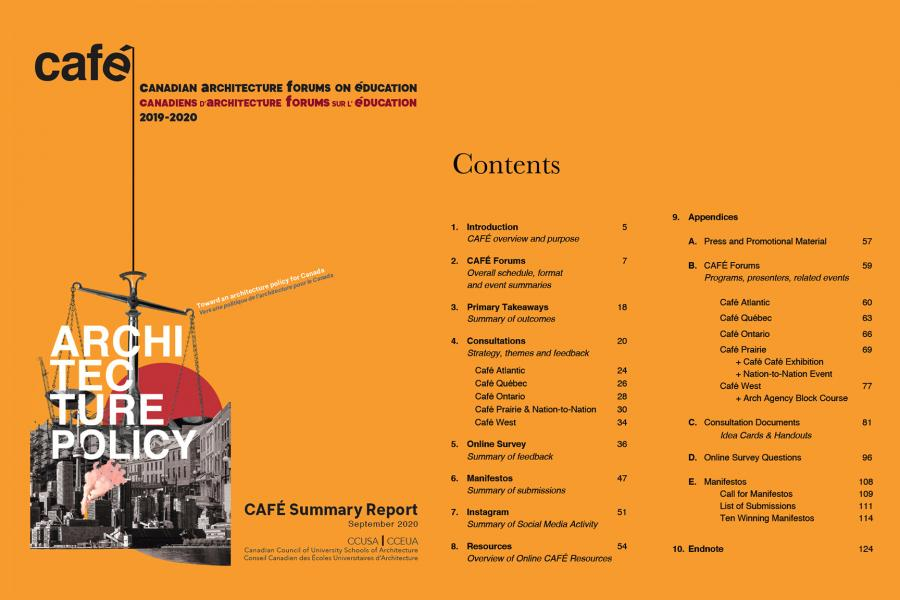 CAFE summary report table of contents