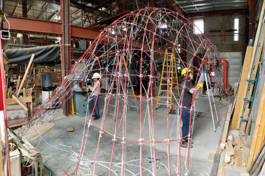 a wire structure being built inside