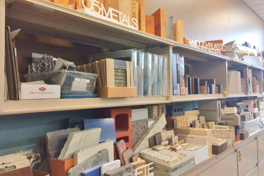 shelves stacked with material samples