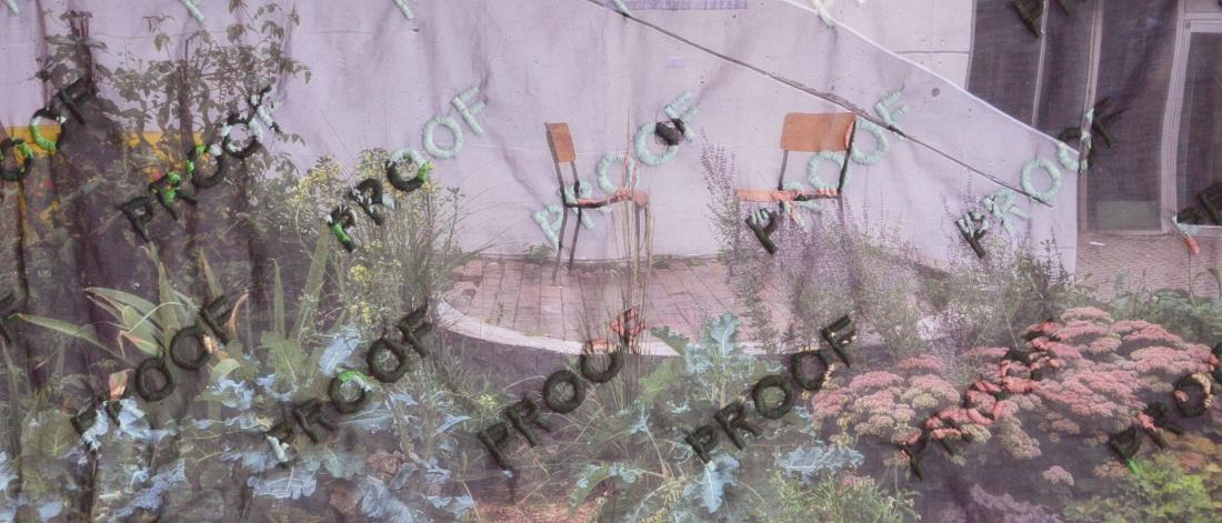 Florence Yee, 'PROOF—Chinatown Anti-Displacement Garden' (detail), 2020, hand-embroidered thread on cotton voile print.