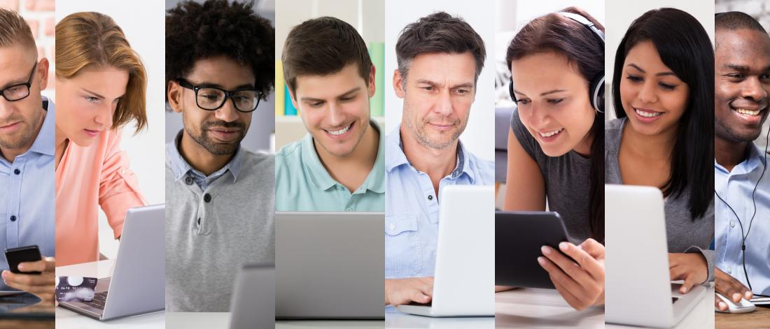 People of different ages smiling at their computer screens