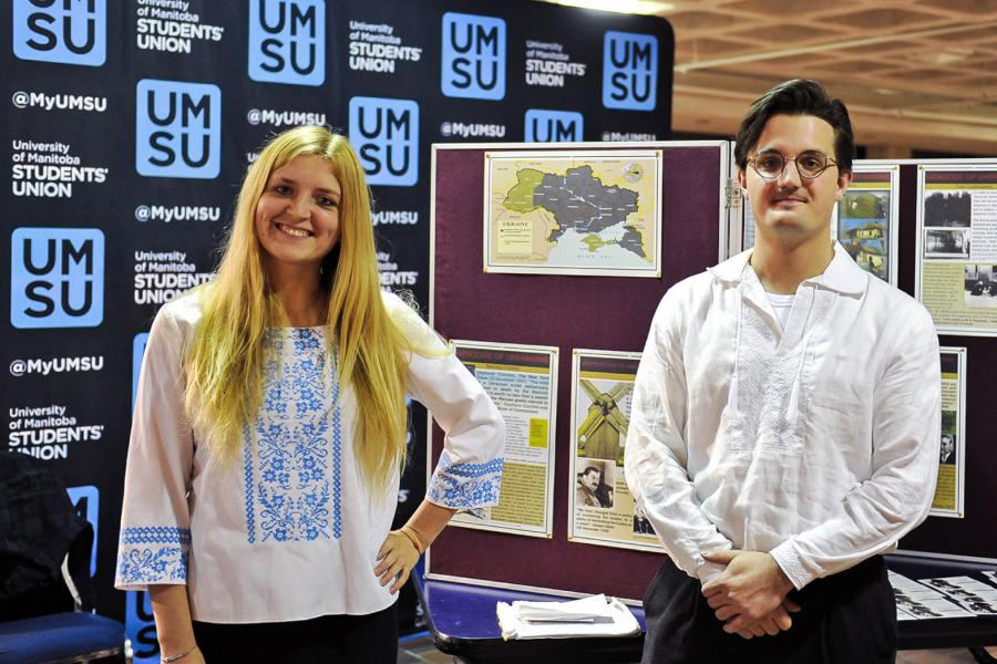 Two members of the Ukrainian Students Association stand for a photo.