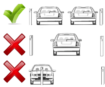 Graphic showing how to properly park between posts