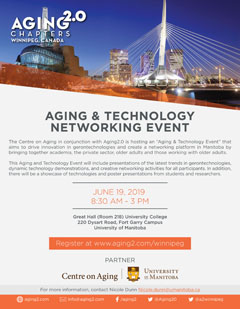 The Aging and Technology networking event will take place on June 19