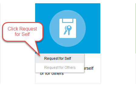 Requesst Access button image with instruction of Click Request for Self
