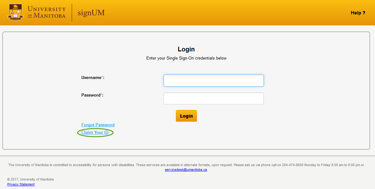 signUM login page with Claim Your ID link highlighted