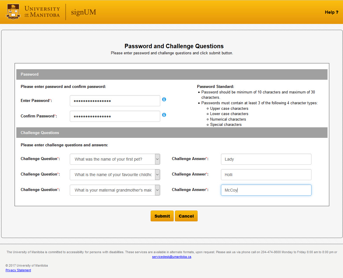 signUM screen capture of password challenge questions