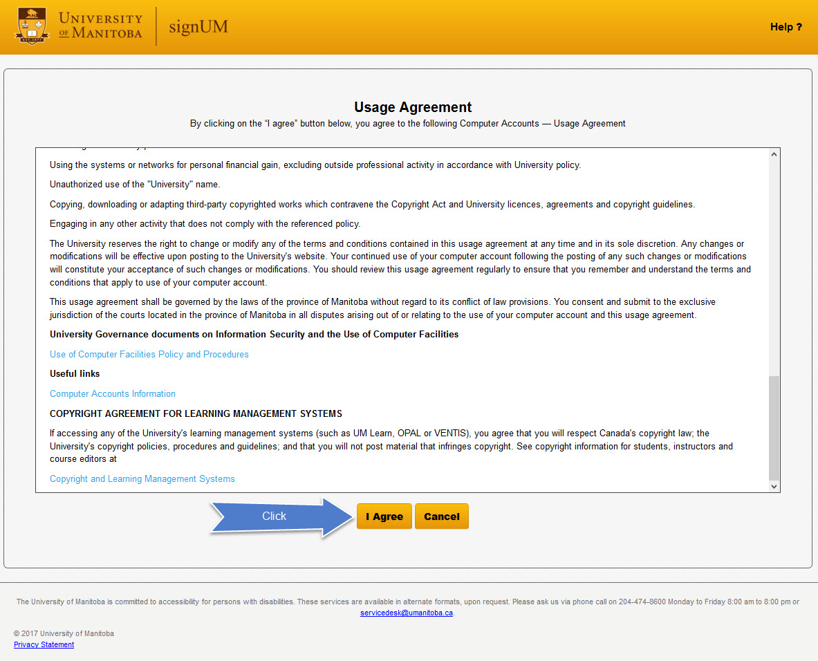 signUM screenshot of usage agreement