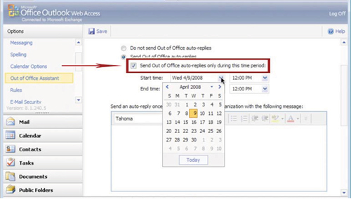 how to set out of town message in outlook