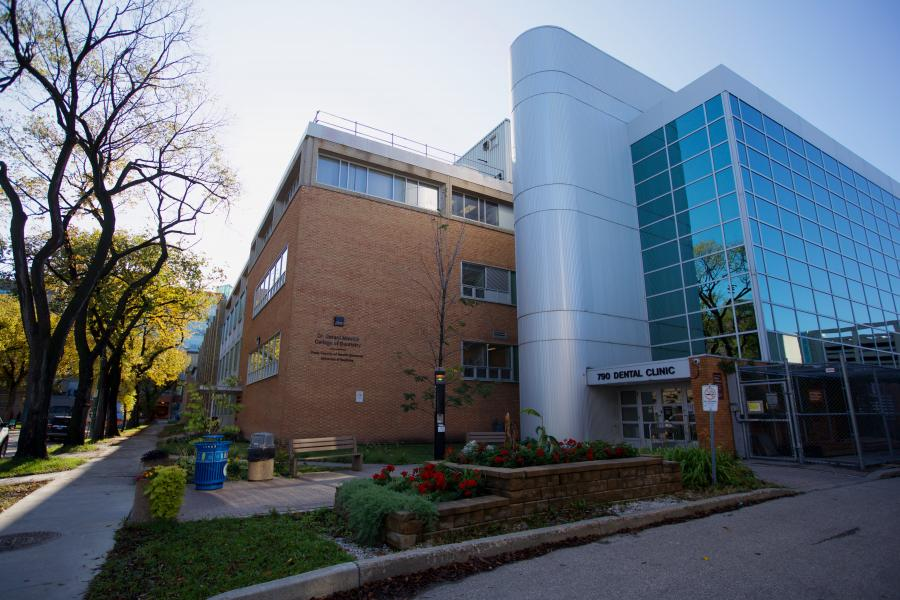 Exterior view of the dentistry general patient clinic entrance on Bannatyne Avenue.