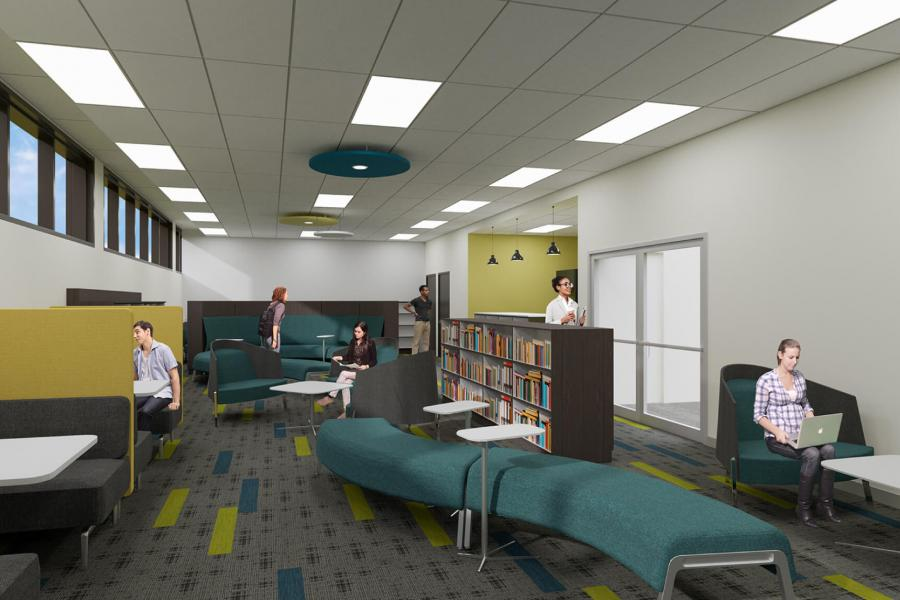 An architectural rendering of the future Anna and Inga Storgaard Learning Commons.