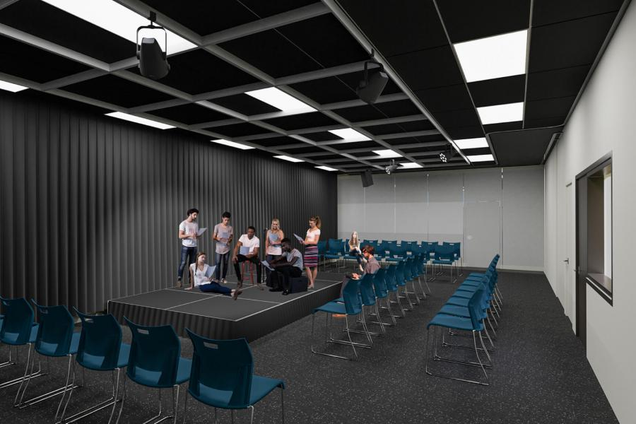 An architectural rendering of the future Education Drama and Music classroom.