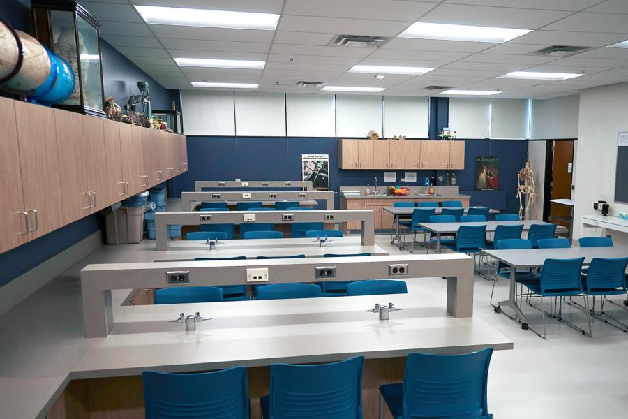 Interior of the Faculty of Education Science lab with rows of table work stations.