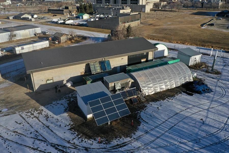 An aerial photo of the sustainability in action research facility.