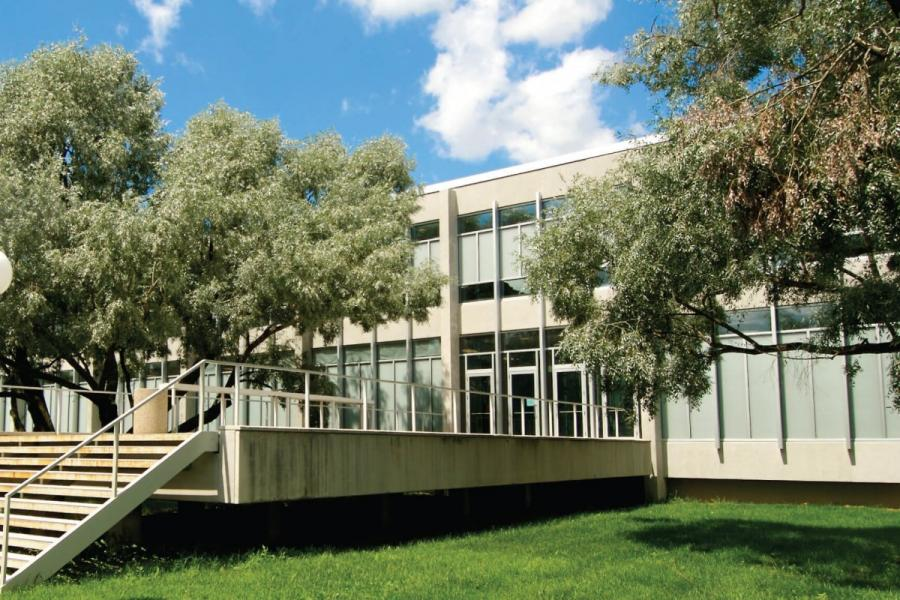 An exterior view of the University of Manitoba John A. Russell building.