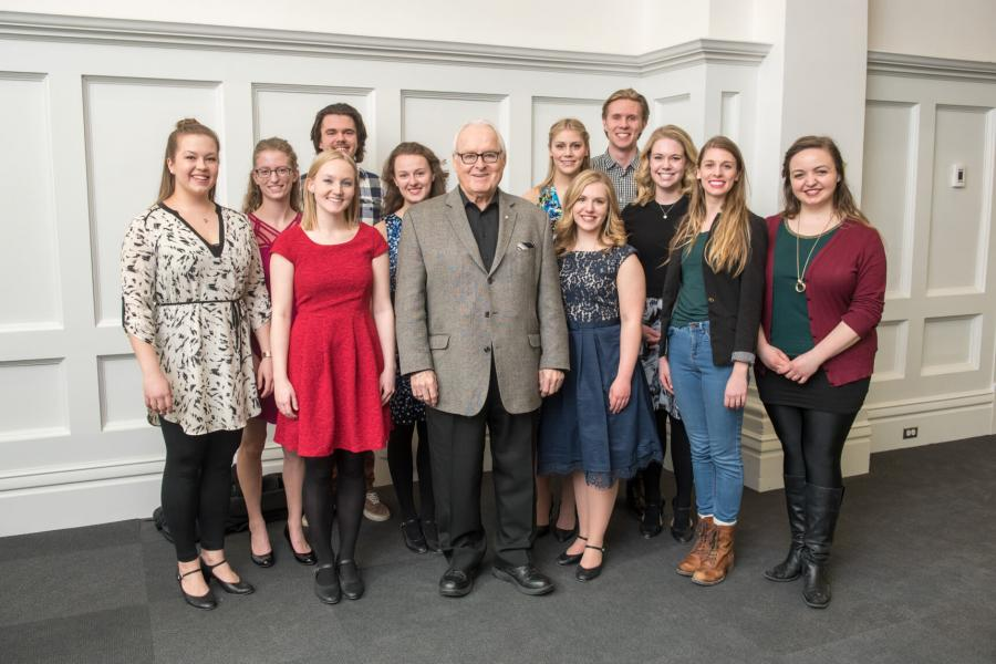 Desautels Scholarship recipients with Marcel Desautels.