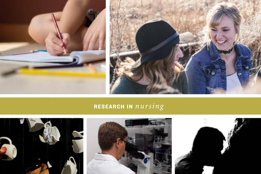 A collage of several nursing related images and the title Research in Nursing.