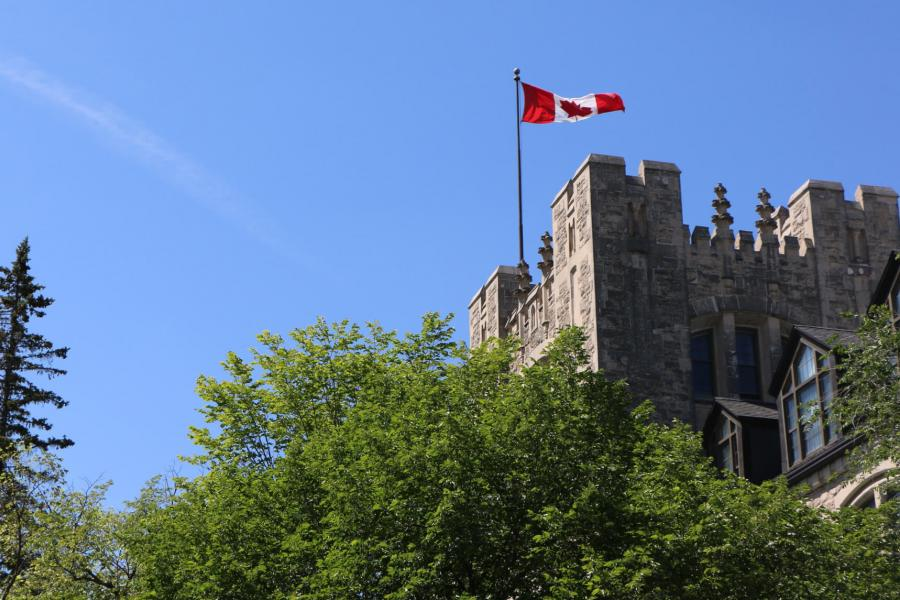 A Canadian flag flies above the Tier building at the University of Manitoba Fort Garry campus.
