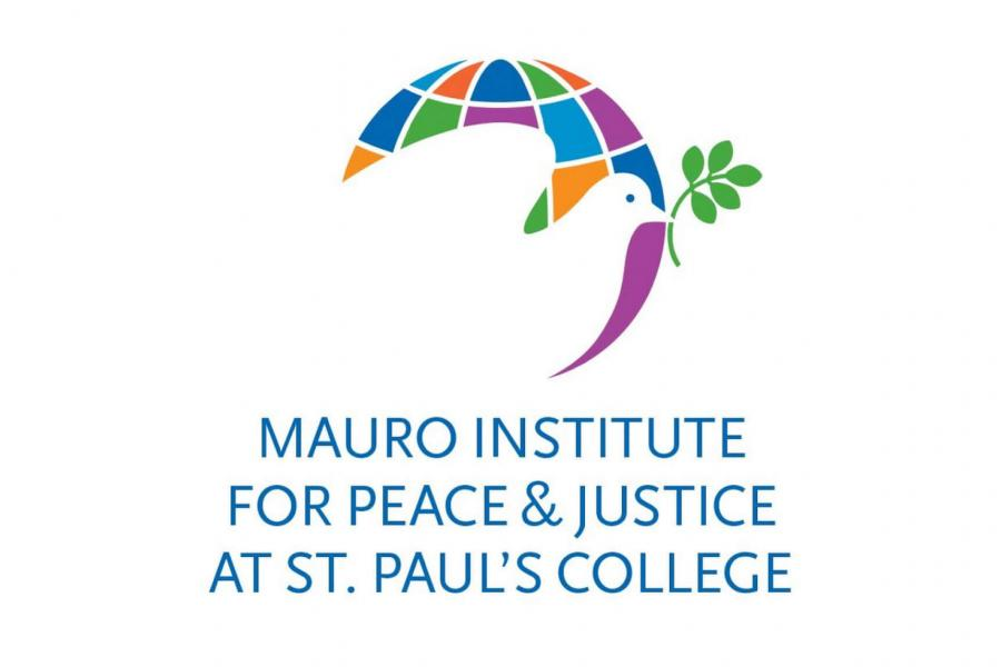 The Mauro Institute for Peace and Justice logo featuring a silhouette of a white dove holding an olive branch with a colourful globe behind it.