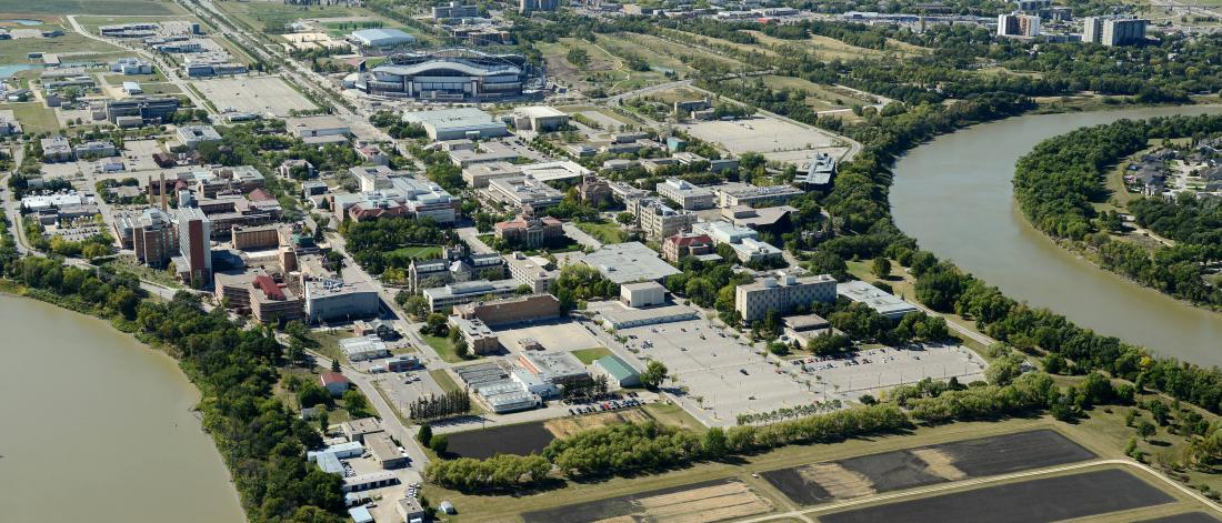 An aerial photo of the University of Manitoba Fort Garry campus.