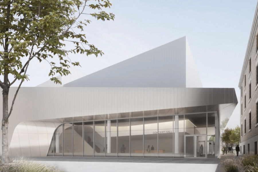 An architectural rendering of the Desautels Concert Hall.