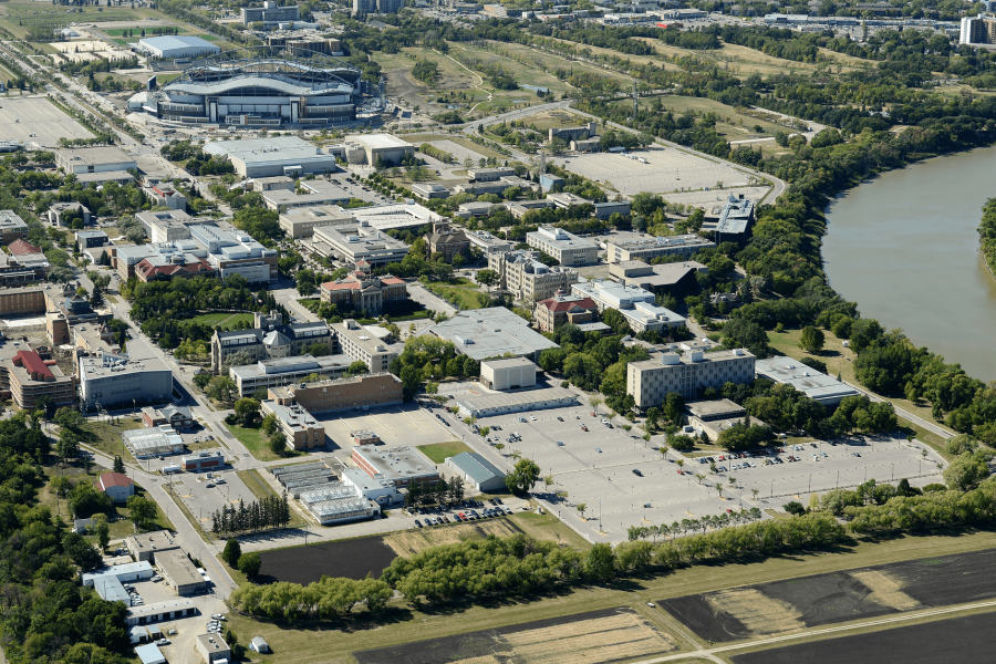 An aerial view of the University of Manitoba Fort Garry campus.