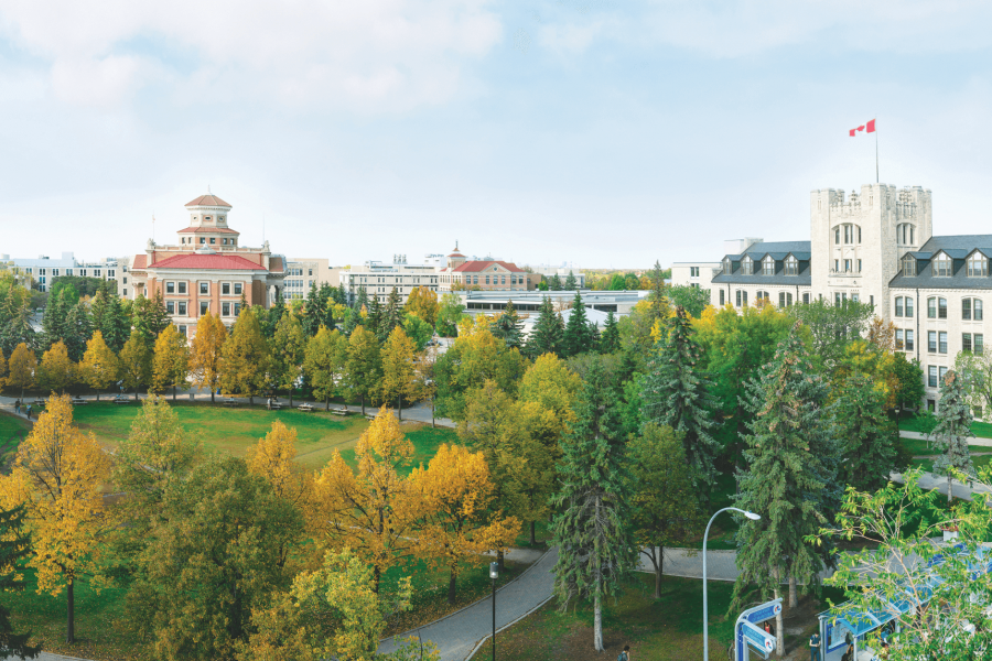 An aerial view of the quadrangle and Administration building at the University of Manitoba.