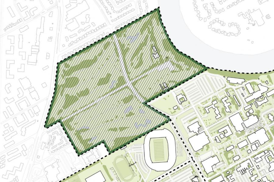 A topographic rendering of the Southwood lands.