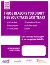 Reasons not file taxes poster