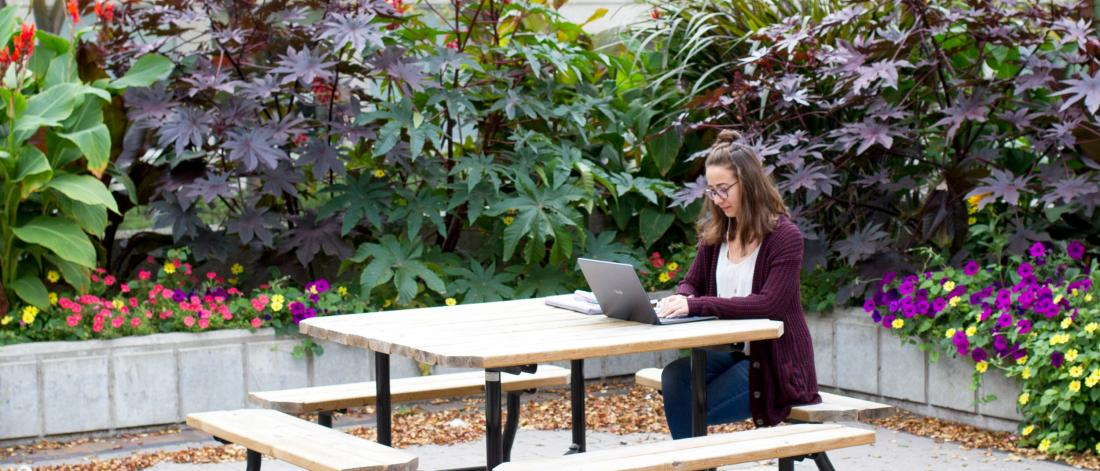 A student sits outdoors at a picnic table working on a laptop.