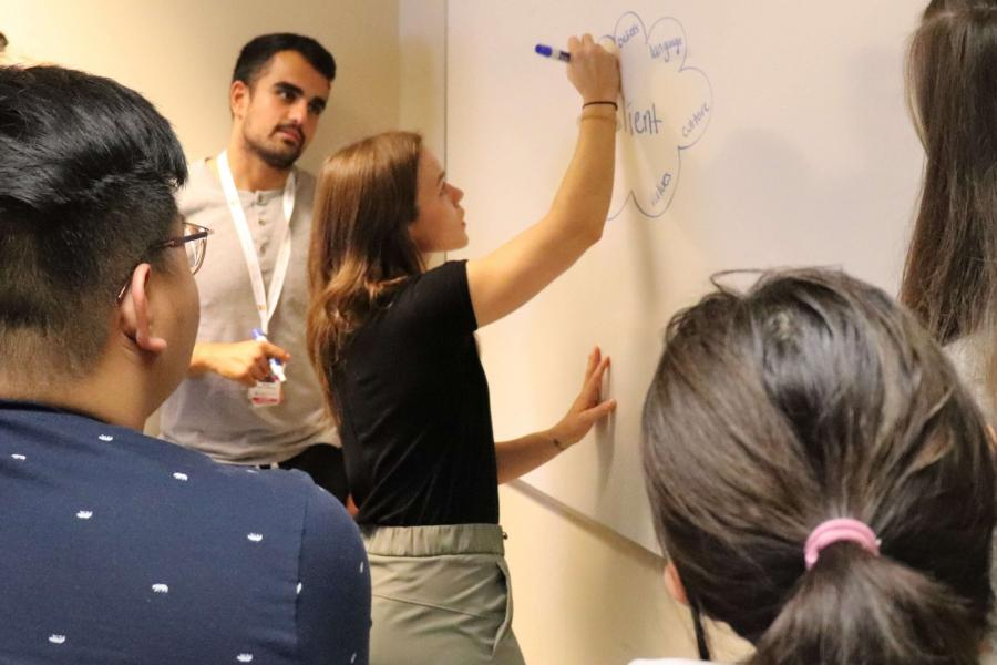 Students collaborate on a whiteboard during an interprofessional session