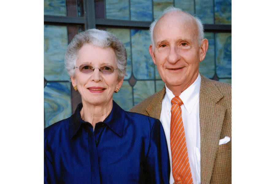 Evelyn and Ernest Rady stand side by side.