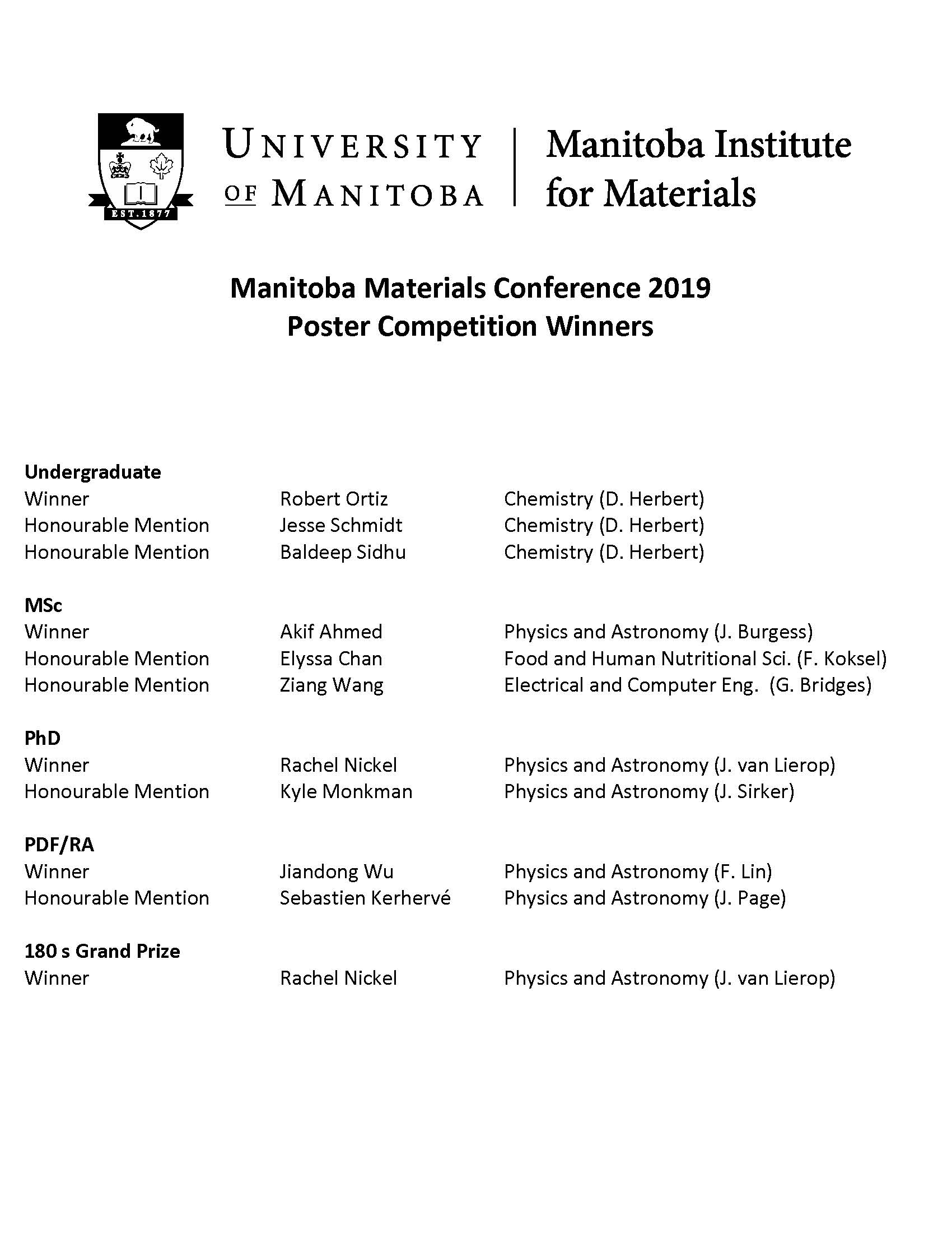 University of Manitoba - Manitoba Institute for Materials