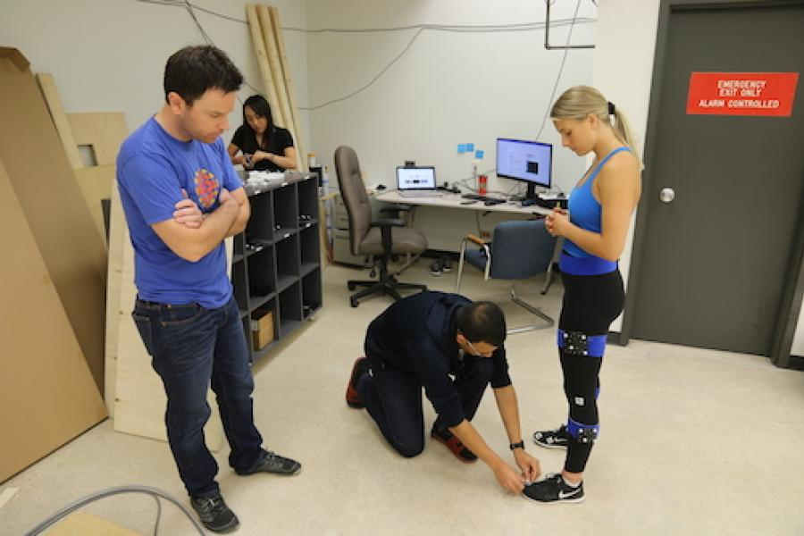 students learning in biomechanics lab