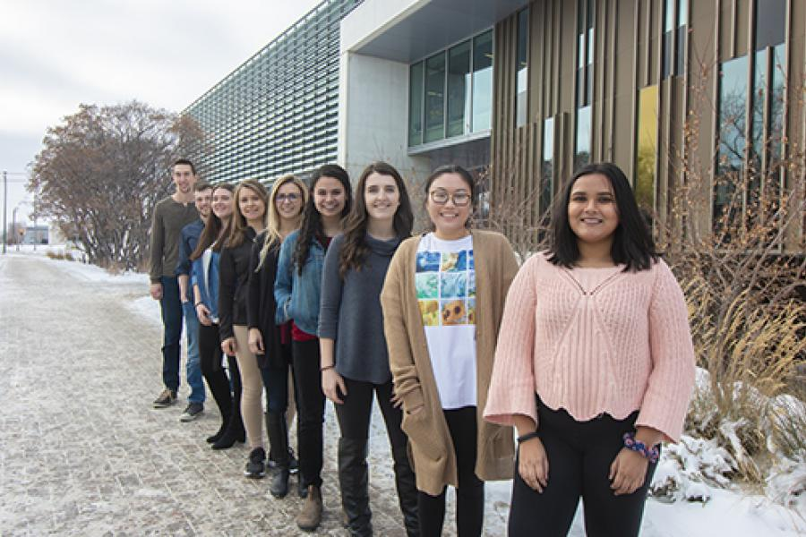students standing outside of the Active Living Centre