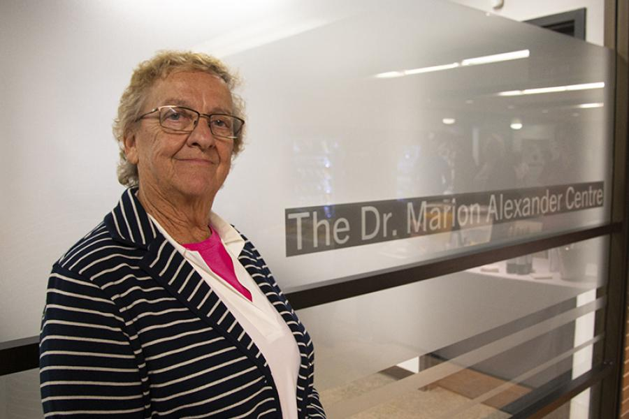 Marion Alexander, pictured outside of the Dr. Marion Alexander Research Centre