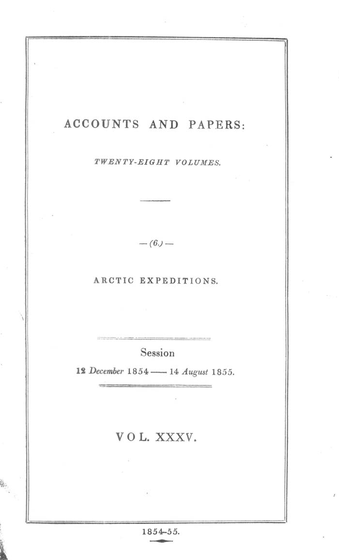 Arctic Blue Books, taylor 1855a: page i1