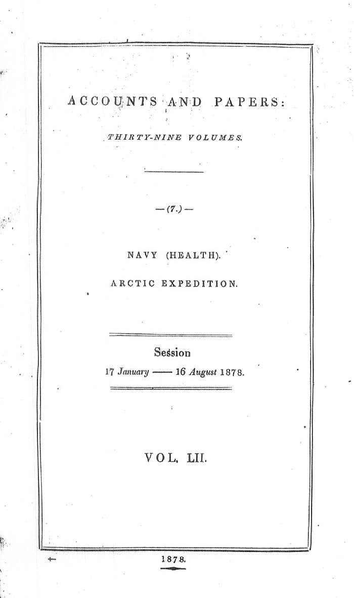 Arctic Blue Books, taylor 1878: page i1