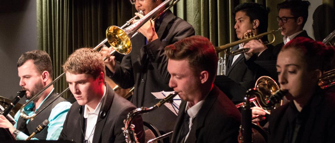 A jazz orchestra ensemble performance.