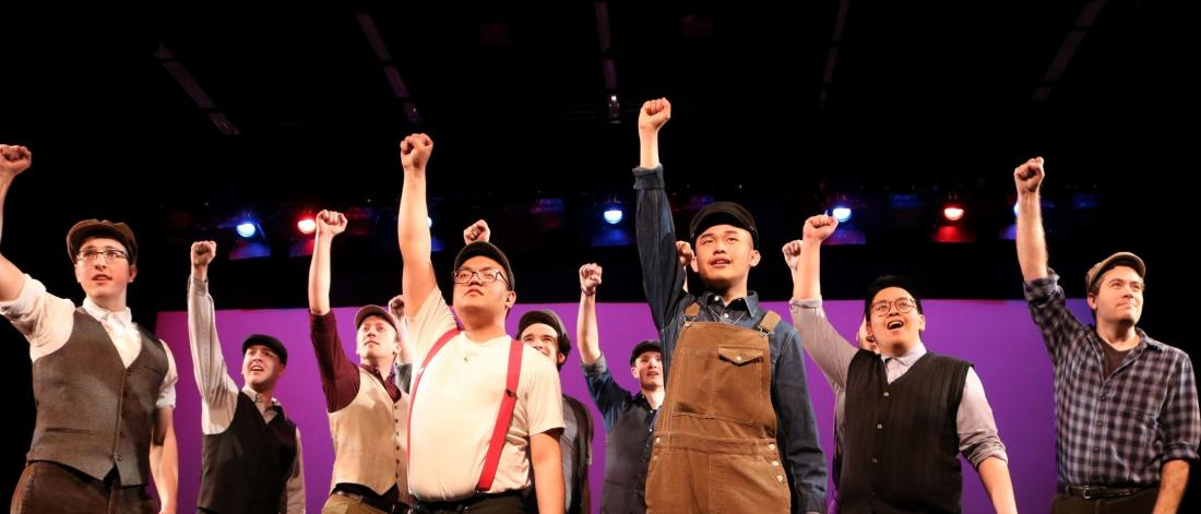 The men of the 2019 Musical Theatre Ensemble perform an excerpt from the musical Newsies