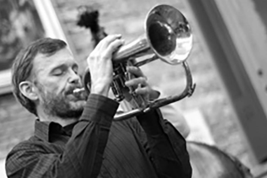 Richard Gillis playing a flugelhorn.