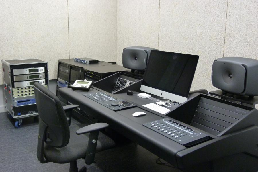 An interior view of the Desautels recording studio and its equipment.