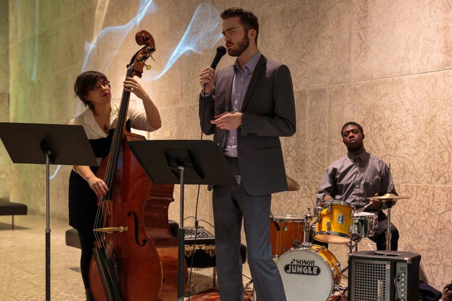 A small jazz ensemble performance at the Winnipeg Art Gallery.