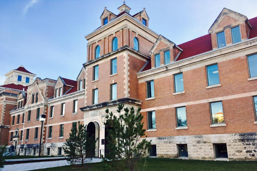 An exterior view of the Tache Arts Project building at the University of Manitoba Fort Garry campus.