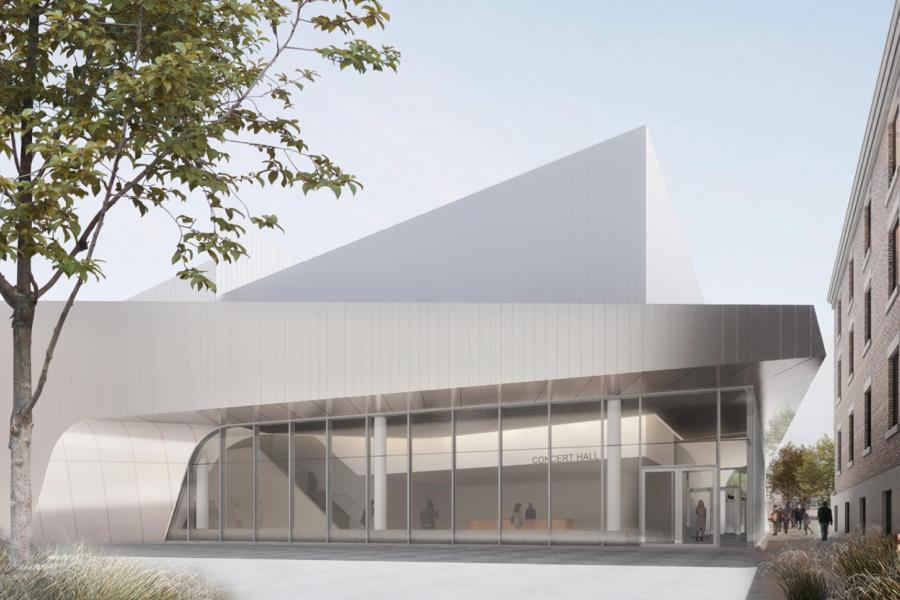 An architectural rendering of the future Desautels Faculty of Music Concert Hall.